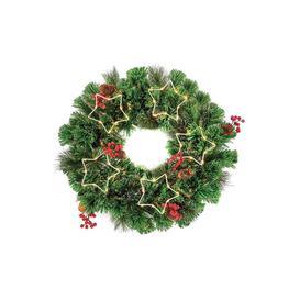 image-Fibre Optic Wreath with LED Stars