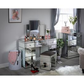 image-Monroe Silver Mirrored Dressing Table Set with Stool and Tri-fold Mirror