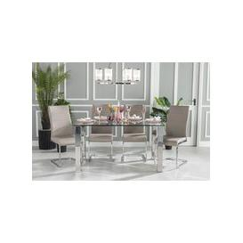 image-Sovana Glass and Stainless Steel Chrome 180cm Dining Table with 4 Mercury Taupe Faux Leather Chairs and Get 2 Extra Chairs Worth &pound128 For FREE