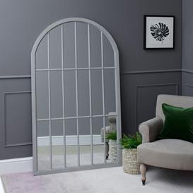 image-Fleur Large Arched Framed Mirror Grey
