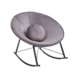 image-Artos Velvet Rocking Chair In Grey With Chrome Legs
