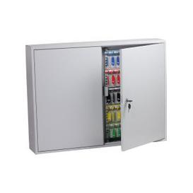 image-Phoenix KC0606K 400 Hook Key Commercial Key Cabinet With Key Lock, Light Grey