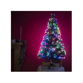 image-Fibre Optic Green Christmas Tree with Multicoloured Fibre Optic Lights - 2ft, 3ft, 4ft, 5ft, 6ft [5ft / 1.5m PRE-ORDER]