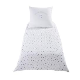 image-Children's White Cotton Stars Print Bedding Set 140X150