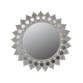 image-Morocco Antique White Antique Wall Mirror - Sunburst