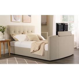 image-Langham Oatmeal Fabric Double TV Bed