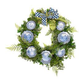 image-MacKenzie-Childs - Fern Wreath - Royal Toile
