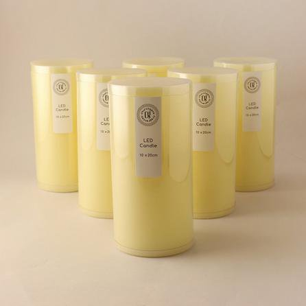 image-Pack of 6 Cream LED Church Candles Cream