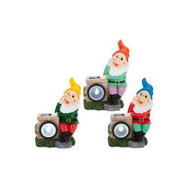 image-Set of 3 Gnome Leaning on Solar Lights