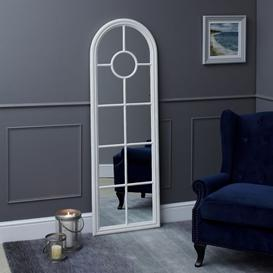 image-Fleur Narrow Arched Framed Mirror White