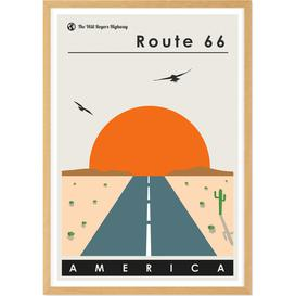 image-Route 66 Landscape Travel Poster Framed Wall Art Print A3, Multi