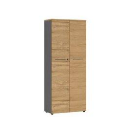 image-Agenda Tall Filing Cabinet In Graphite And Grandson Oak