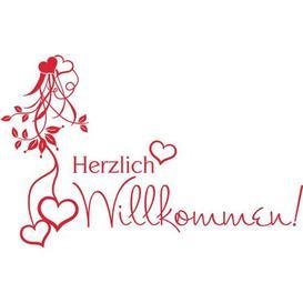 image-Herzlich Willkommen Wall Sticker Happy Larry Colour: Light red, Size: 63 cm W x 40 cm D