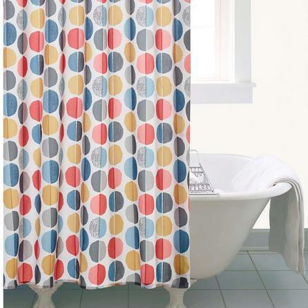 image-Elements Circle Shower Curtain White/Orange/Blue