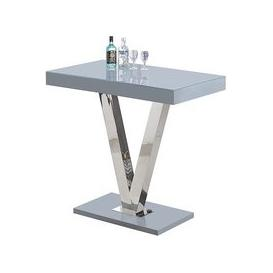 image-Vienna Glass Bar Table In Grey Gloss And Stainless Steel