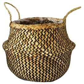 image-Medium Seagrass Chevron Black Lined Basket Black