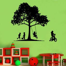 image-Kids In The Garden Decal Wall Sticker East Urban Home Colour: Brown, Size: Extra Large