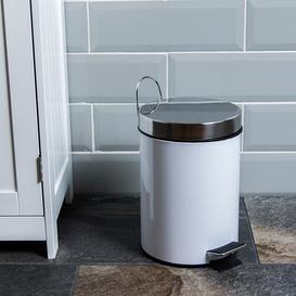 image-Stainless Steel 3 Litre Step On Bathroom Bin Wayfair Basics Colour: White