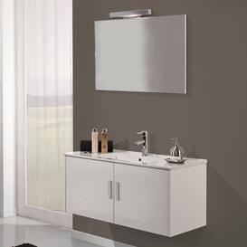 image-Mali 4-Piece Bathroom Furniture Set with Mirror and Tap Ebern Designs Base Finish: Gloss White Lacquered