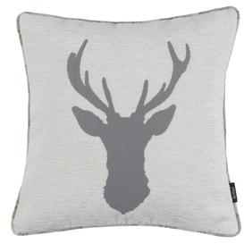 image-Stag Pale Beige Grey Tartan Cushion, Cover Only