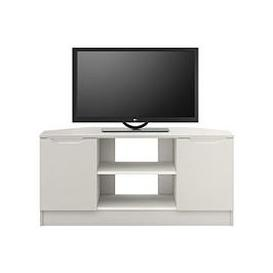 image-Bilbao Ready Assembled 2 Door High Gloss Corner Tv Unit - Grey - Fits Up To 46 Inch Tv