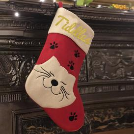 image-Cat Personalised Christmas Stocking East Urban Home Colour: Glitter Gold