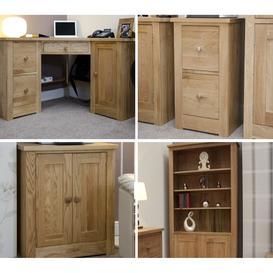 image-Torino Solid Oak Furniture Corner Office Desk Package - PRE-ORDER