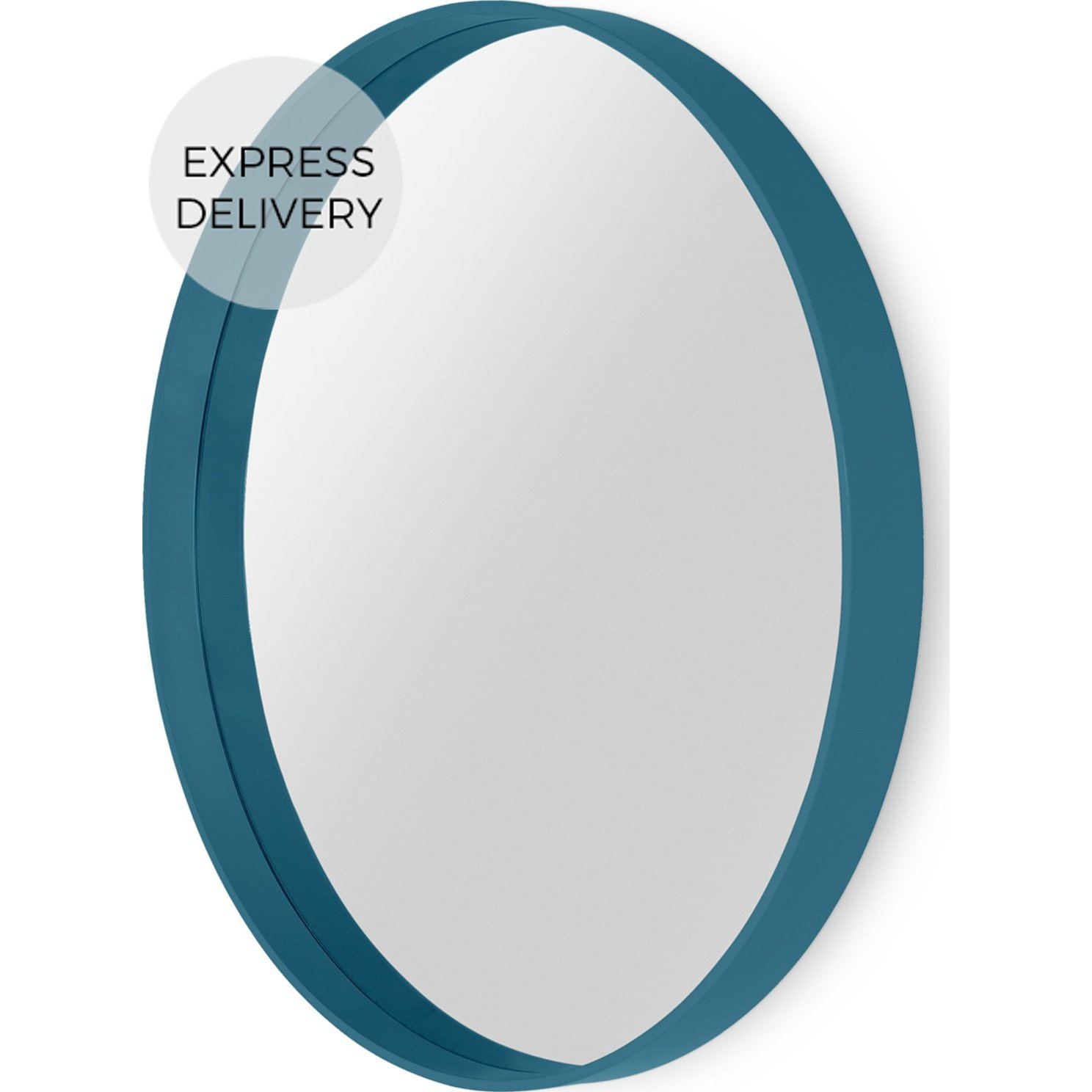 image-MADE Essentials Bex Large Round Mirror 76cm, Teal Green