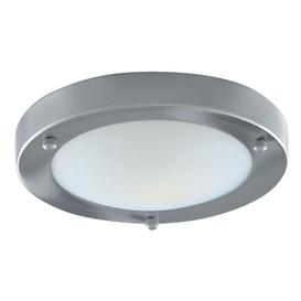 image-Searchlight 1131-31SS Satin Silver Flush 31cm Bathroom Light I.P44