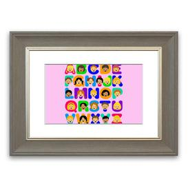 image-'Alphabet Children' Framed Graphic Art in Pink East Urban Home Size: 93 cm H x 126 cm W, Frame Options: Grey