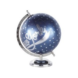 image-Navy Blue and Silver World Map Globe