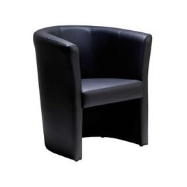 image-Leather Faced Tub Chair, Black
