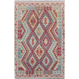 image-Dubai Traditional Handmade Kilim Wool Red/Blue/Yellow Rug Bloomsbury Market