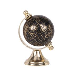 image-Golden and Black Metal World Map Globe