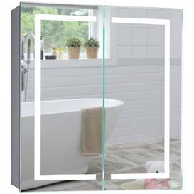 image-Led Illuminated Bathroom Mirror Cabinet CABM28 Carina Size 70Hx65Wx15Dcm