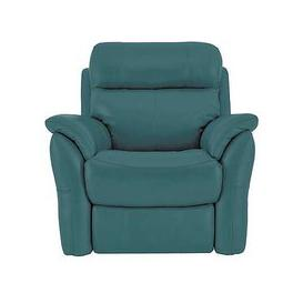 image-Relax Station Revive Leather Manual Recliner Armchair - Blue- World of Leather
