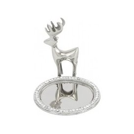 image-Glitz Nickel Reindeer And Mirror Candle Plate