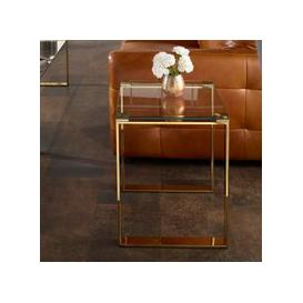 image-Joyce Lamp Table Square In Clear Glass With Gold Legs