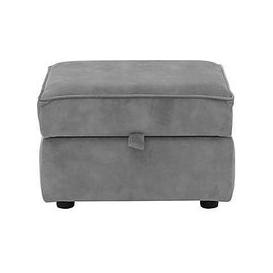 image-Nelly Fabric Storage Footstool - Grey