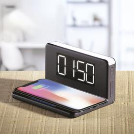 image-Digital Electric Alarm Tabletop Clock in Black Daewoo