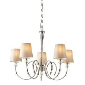 image-Riverport 5-Light Shaded Chandelier Ophelia & Co. Shade Colour/Pattern: Natural
