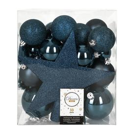 image-A by AMARA Christmas - Set of 33 Assorted Baubles and Tree Topper - Night Blue