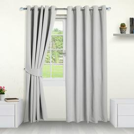 image-Eyelet Blackout Thermal Curtains Symple Stuff Colour: Silver, Panel Size: 229 W x 229 D cm