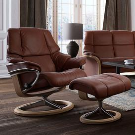 image-Stressless Reno Recliner With Signature Base Footstool Large Chair Paloma Leather
