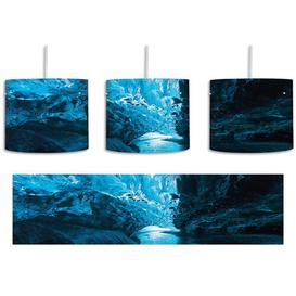 image-Abstract Icy Landscape 1-Light Drum Pendant East Urban Home Shade Colour: Blue/Grey