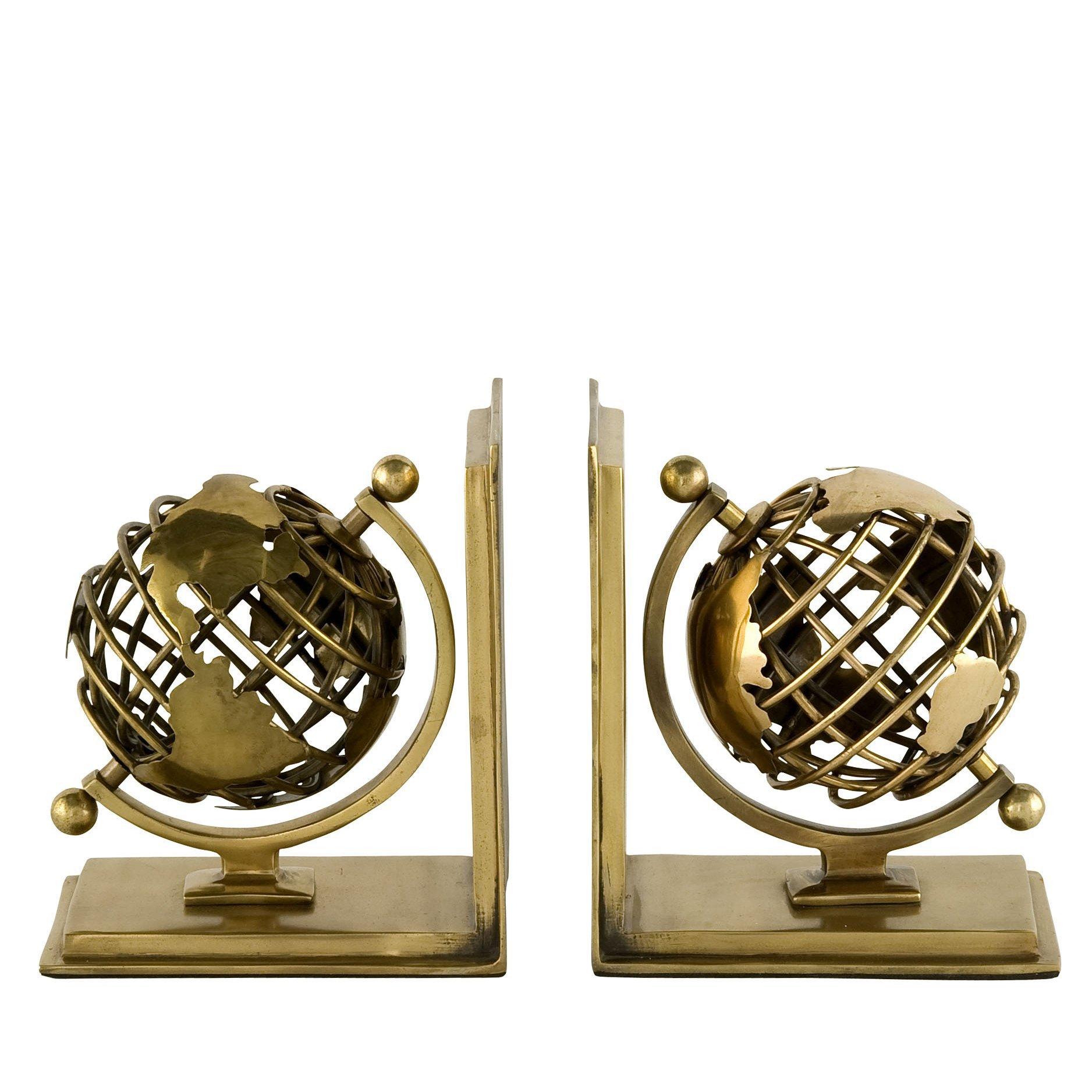 image-Eichholtz Bookend Globe set of 2 antique brass finish