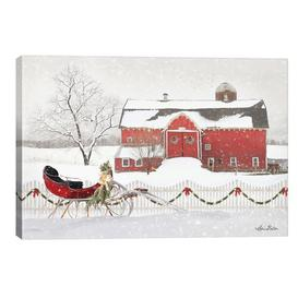 image-'Christmas Barn with Sleigh' Graphic Art Print on Wrapped Canvas East Urban Home