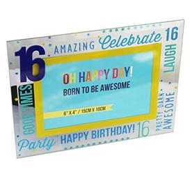 """image-""""6"""""""" x 4"""""""" - Oh Happy Day! Glass Photo Frame - Blue 16"""""""