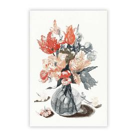 image-'Glass Vase With Flowers' by Johan Teyler - Unframed Painting Print on Paper Big Box Art Size: 29.7 cm H x 21 cm W
