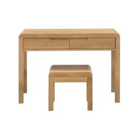 image-Julian Bowen Curve Oak 2 Drawer Dressing Table and Stool